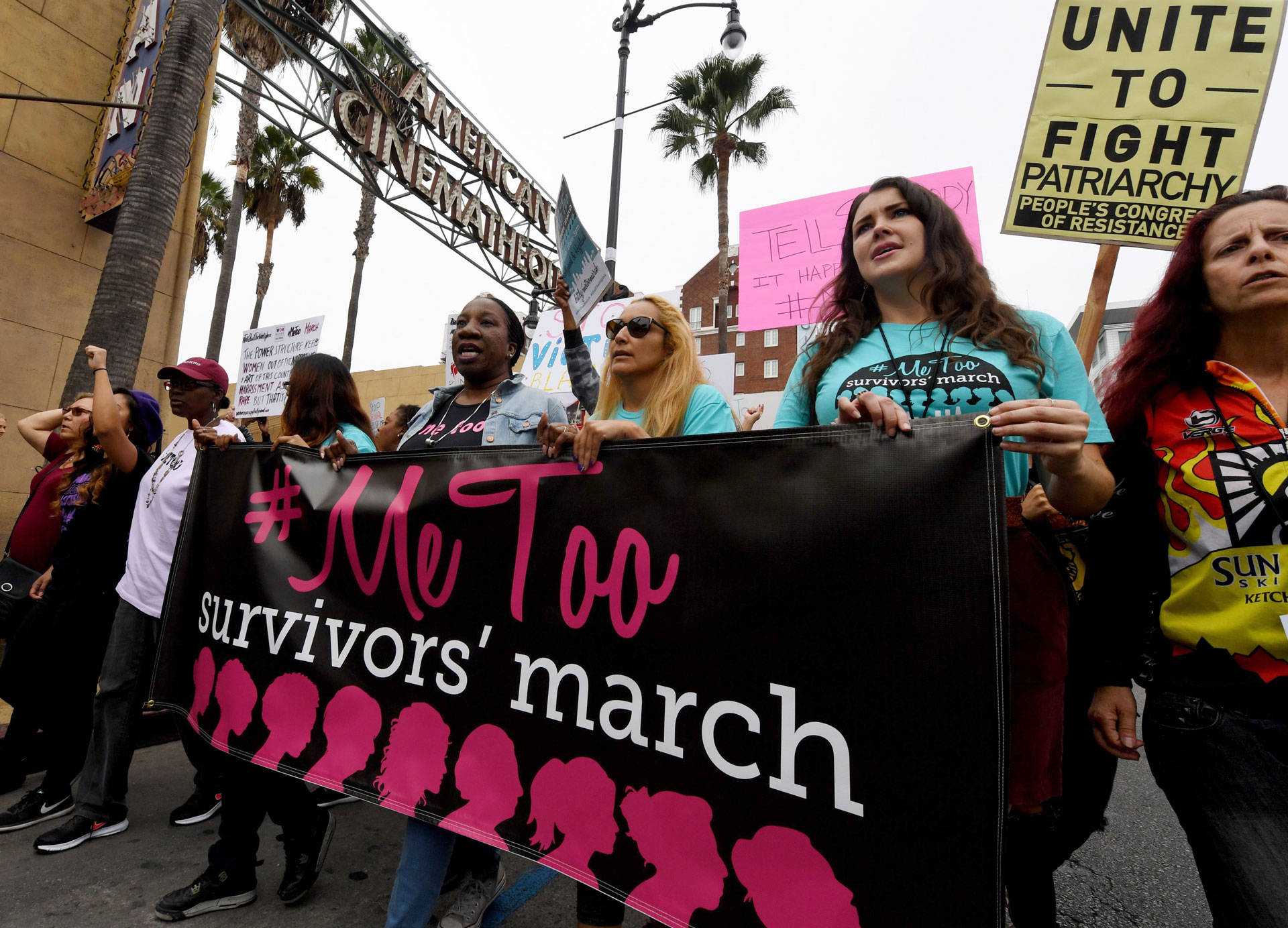 Victims of sexual harassment, sexual assault, sexual abuse and their supporters protest during a #MeToo march in Hollywood on Nov. 12, 2017. MARK RALSTON/AFP/Getty Images
