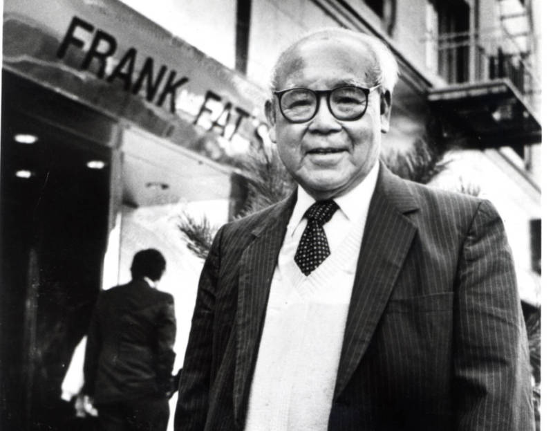 Frank Fat in front of his namesake restaurant, which turns 80 next year. Fat died in 1997, but his family has carried on his legacy.