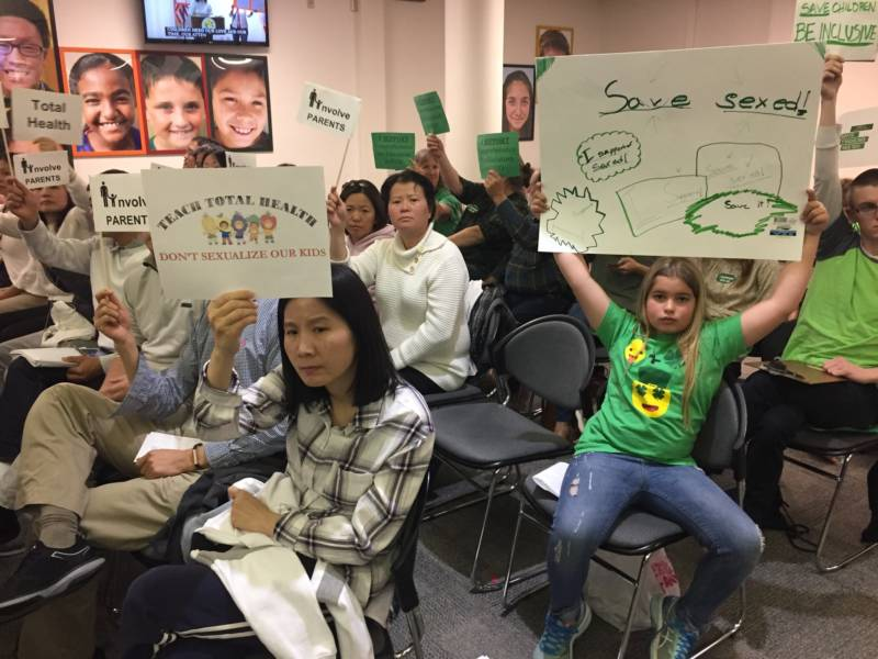 Parents and students at a Fremont school board meeting debating sex ed on Wednesday, May 2, 2018.