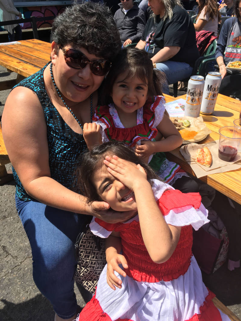 Maria Martinez of Concord brought her two daughters to their first luchador match.
