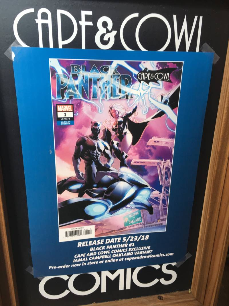 A poster advertising the special edition of Marvel's Black Panther #1 with an Oakland-specific cover. The Cape and Cowl in downtown Oakland will be the only place fans will be able to buy the book.