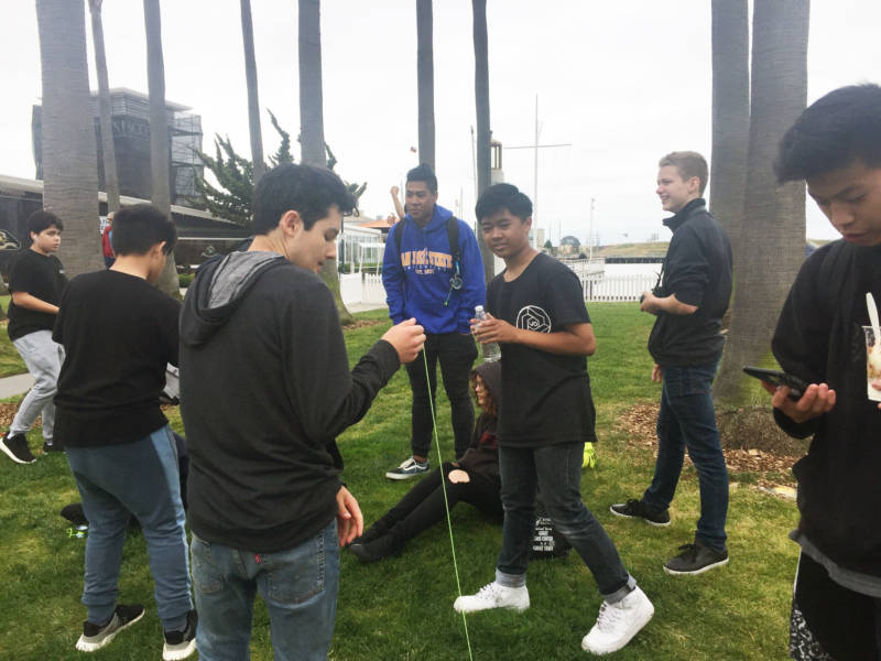 Numerous participants and spectators in the Bay Area Classic hang out and show off their yo-yo tricks. Even though it's a competition, many of the participants said it's fun just to be around other people who love yo-yoing as much as they do.