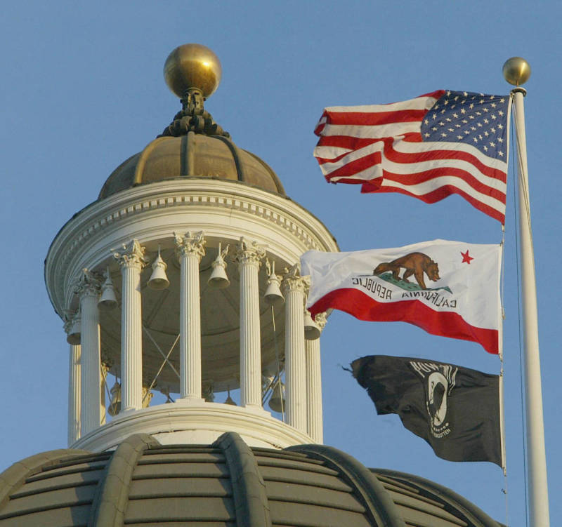 A view of the top of the California Capitol building in Sacramento.