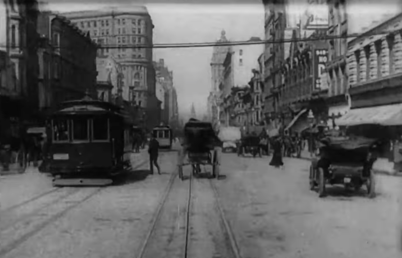 "A frame from the 1906 film ""A Trip Down Market Street Before the Fire."" The movie was shot shortly before the April 18 earthquake and fire devastated much of the city."