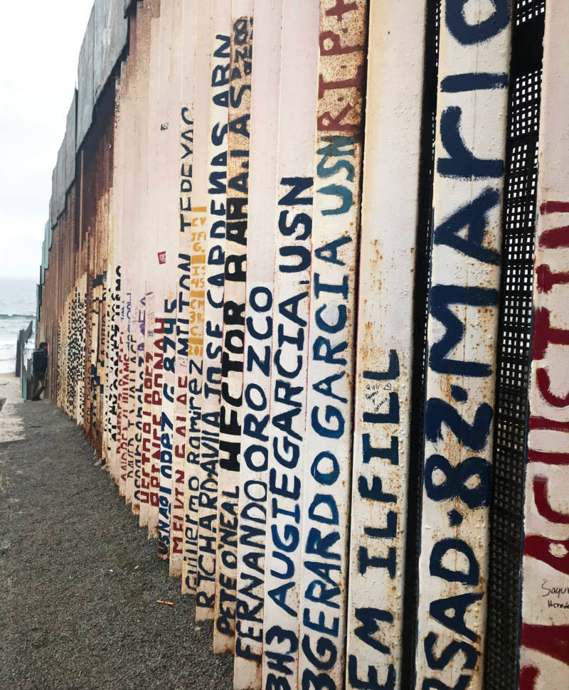 Names of Deported Veterans on the Tijuana side of the wall at Friendship Park. Some of them have died.