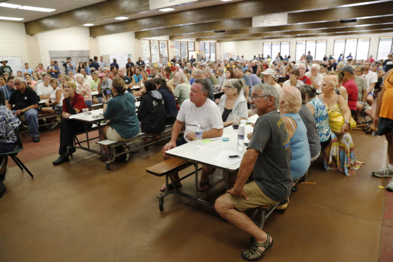 Residents from the lava-affected areas attend a community meeting at Pahoa High School in Pahoa, Hawaii, on Friday.