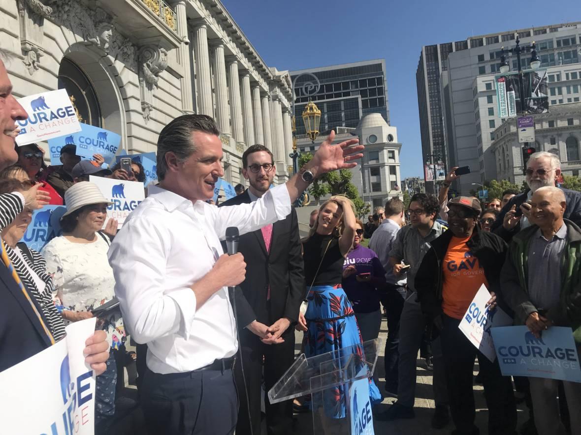 Gavin Newsom Walks Fine Line Between Progressive and Pragmatist in Governor's Race