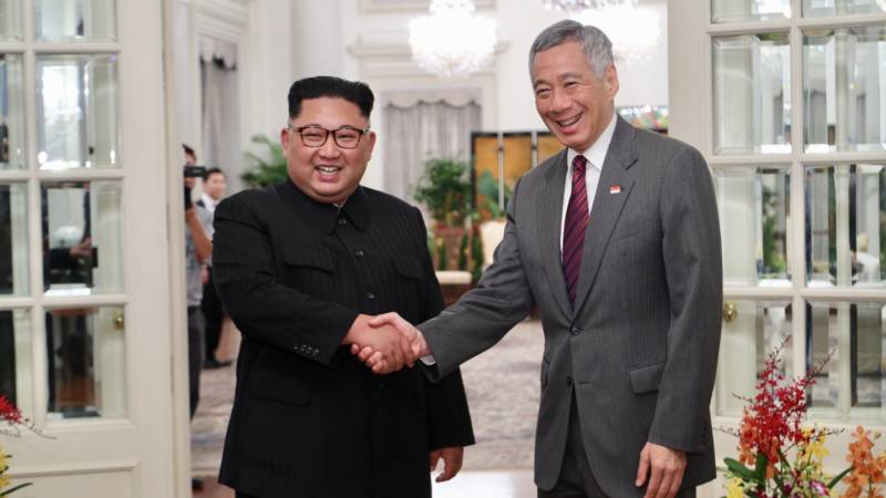 North Korea's Kim Jong Un meets Singaporean Prime Minister Lee Hsien Loong Sunday. Kim is scheduled to begin a summit Tuesday with President Trump.