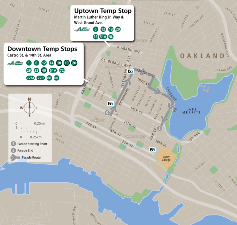 On the day of the parade, all of AC Transit's downtown Oakland lines will serve temporary stops along Castro Street between 12th and 17th Streets.