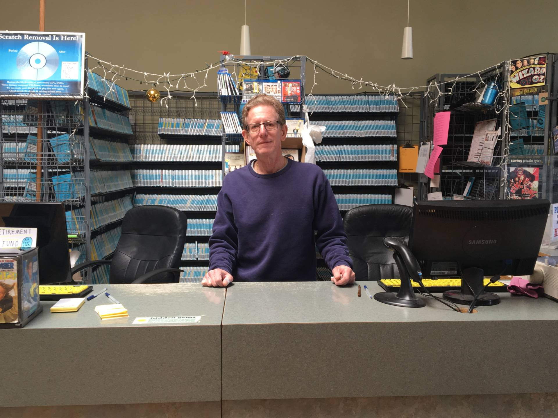 After 38 years in business, Andy Katz is closing his video rental store, the last one in Berkeley. Sam Harnett/KQED