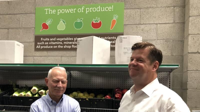 San Francisco-Marin Food Bank Executive Director Paul Ash chats with Mayor Mark Farrell.