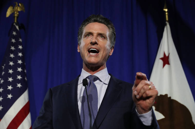 Democratic gubernatorial candidate Lt. Gov. Gavin Newsom speaks during his primary election night gathering on June 5, 2018 in San Francisco.