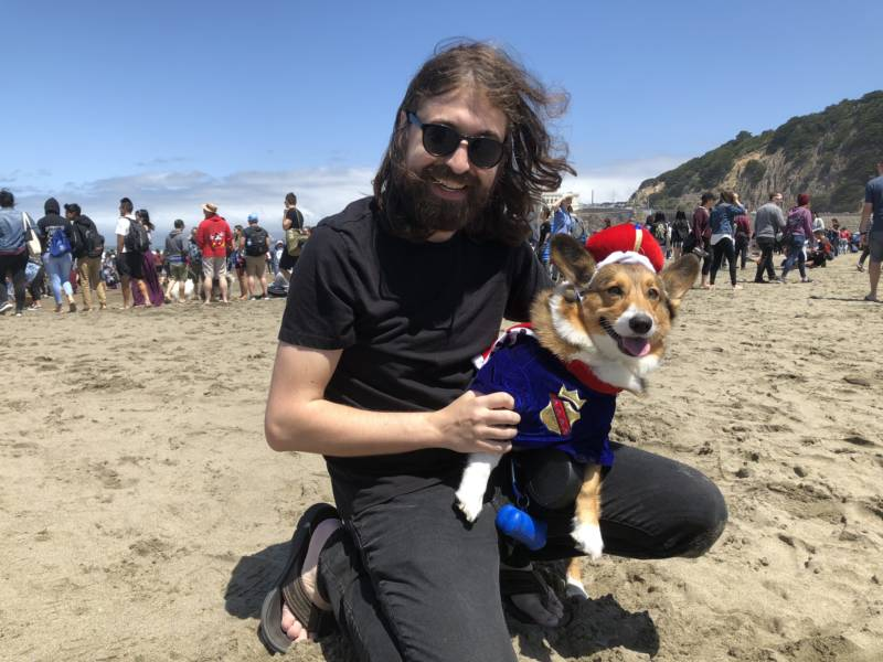 "Otto and his owner, Seth Rediker, pose for a photo. This is Otto's sixth Corgi Con and the pup has his own Instagram. ""They are just the friendliest things in the world,"" said Rediker about why corgis are so popular."