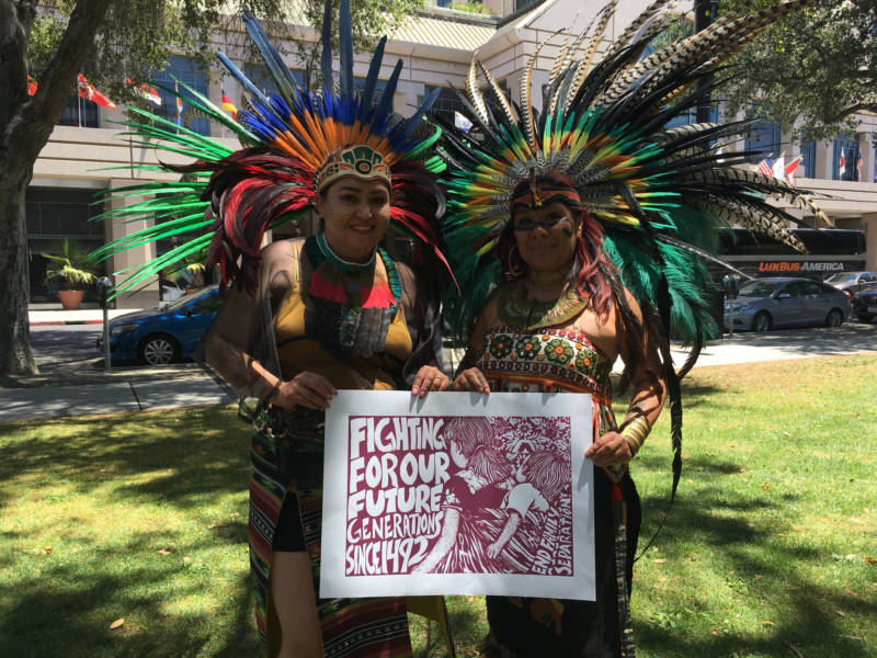 Lidia Doniz (R) and Erendira Ortega (L) at the San Jose 'Families Belong Together' rally. Doniz is originally from Guatemala, and she founded Movimiento Cosmico Indigenous Dance and Culture. 'Racist rhetoric should not inform policy,' she says. 'Politics aside, parties aside, when we start creating policies that are racist, we are back to the 1940s, when we took our Japanese brothers and sisters away and put them in camps.' Ortega adds, 'This is not the first time that families are separated, and we should learn from our history.'