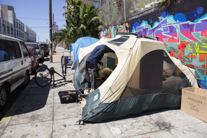 A homeless encampment located on Florida St in the Mission District of San Francisco on Thursday, June 23, 2016.