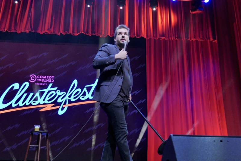 "Australian-born comedian Jim Jefferies, who hosts 'The Jim Jefferies Show"" on Comedy Central performs inside the Bill Graham Civic Auditorium at Clusterfest."
