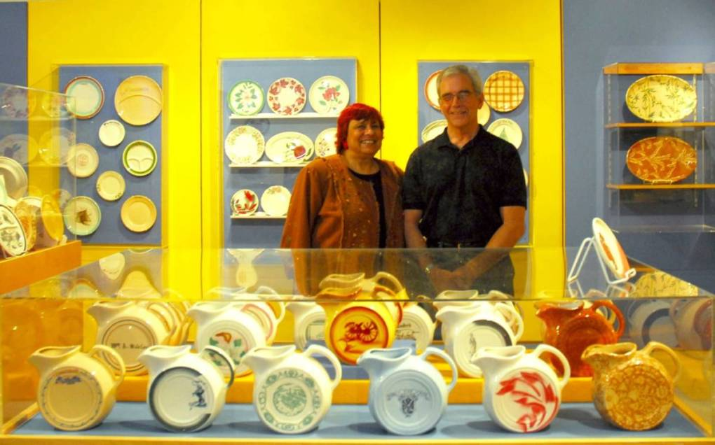 Lynn Maack and his late wife Sandi Genser Maack pose with their TEPCO collection at the Richmond Museum's TEPCO exhibition in 2011.