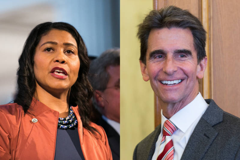 San Francisco Supervisor London Breed (L) and former state Sen. Mark Leno (R) remain locked in a close battle to become San Francisco's next mayor as votes continue to be counted using the city's ranked-choice voting system.