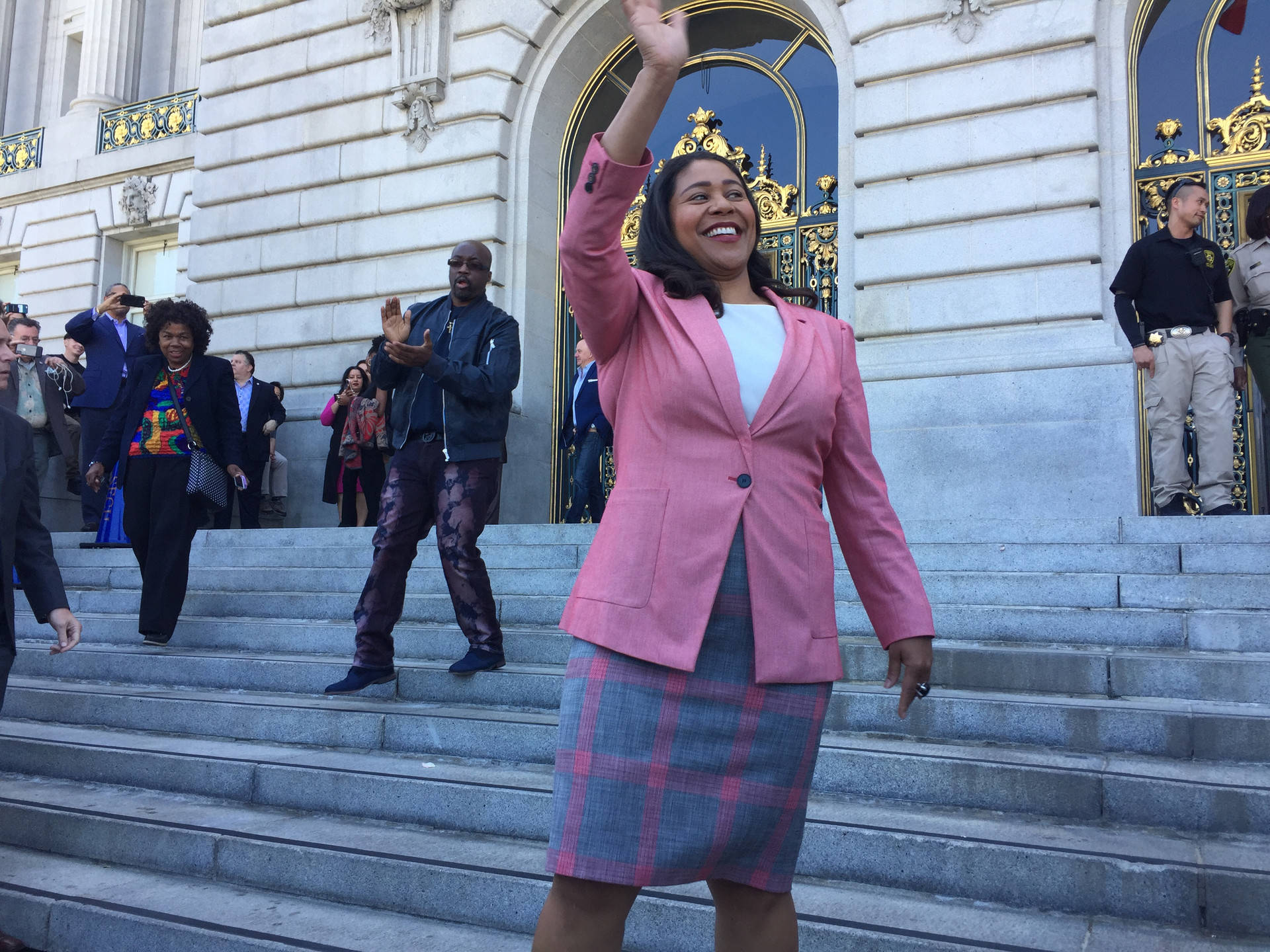 London Breed speaks to reporters and supporters from the steps of San Francisco's City Hall after Mark Leno conceded the race for San Francisco mayor on June 13, 2018. Ryan Levi/KQED