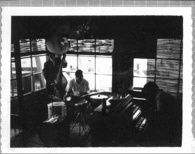 One of the first jam sessions inside Douglas' cottage in Half Moon Bay in the late 1950s, featuring Pat Britt and his band.