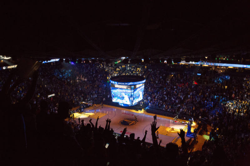 The Warriors defeated the Cleveland Cavaliers 108-85 to cap a 4-0 series sweep and win the NBA Finals for the second year in a row. Fans gathered at Oracle Arena in Oakland for a Golden State Warrior Watch Party on Friday, June 8, 2018.