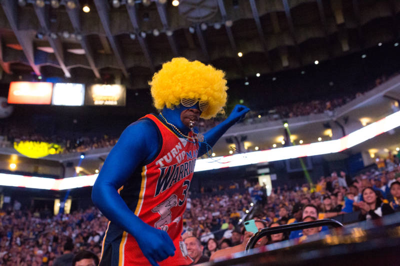 Fans danced and cheered throughout the The Warrior Watch Party for Game 4 of the NBA Finals at Oracle Arena in Oakland.