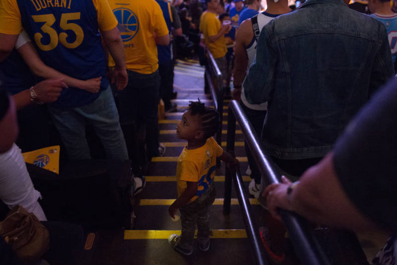 Fans young and old watched the Warriors win their third NBA title in four years.