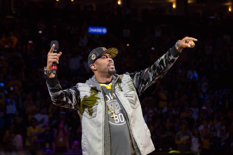 """The halftime show of the Warrior Watch Party at Oracle Arena included dancing and a surprise musical performance by California-born Montell Jordan singing his hit, """"This Is How We Do It""""."""