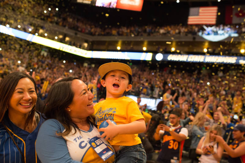 Fans young and old celebrated together at Oracle Arena in Oakland as the Warriors capped off their third NBA title in four years.