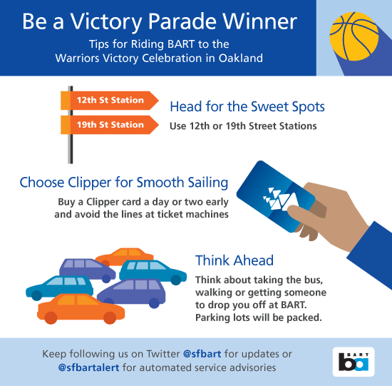 Tips from BART on getting to the Warriors parade on Tuesday.