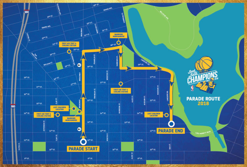 The Warriors championship parade will start at the corner of Broadway and 11th Street and conclude at the intersection of Oak and 13th Streets.