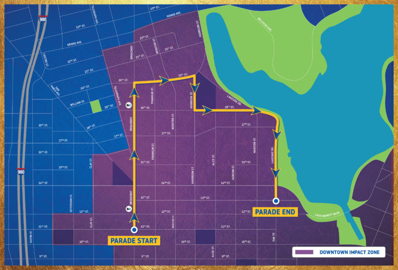 Streets and roads throughout downtown Oakland will be affected by Tuesday's Warriors parade.