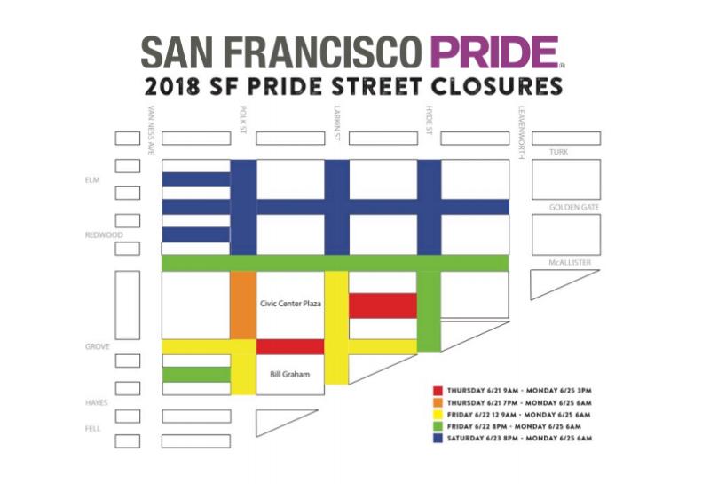 Road closures for San Francisco Pride 2018.