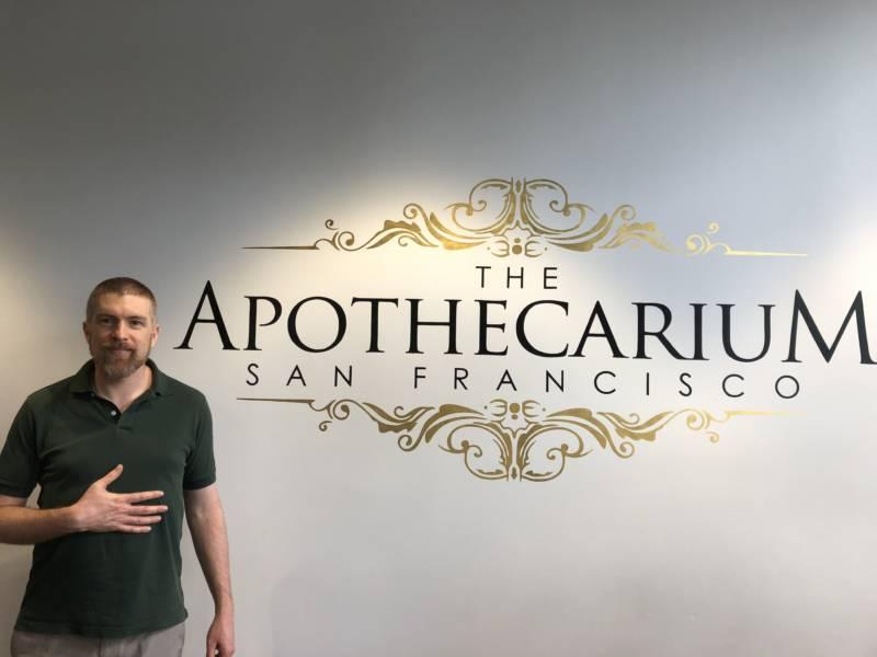 Eliot Dobris poses at The Apothecarium store in The Castro, San Francisco.