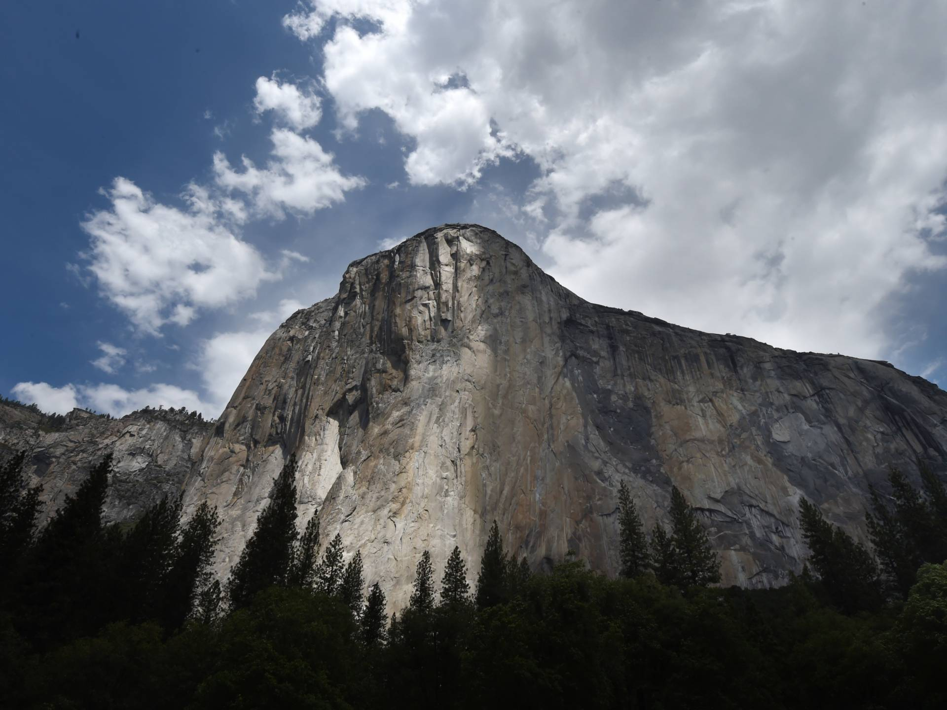 """The El Capitan monolith in Yosemite National Park, seen in June 2015. On Wednesday, climbers Alex Honnold and Tommy Caldwell managed a feat in under two hours that most climbers take days to achieve — scaling the famous """"Nose"""" route up the rock. Mark Ralston/AFP/Getty Images"""