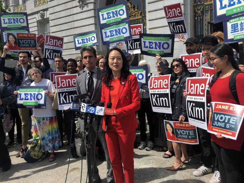 Mayoral candidates Jane Kim and Mark Leno, seen here at a campaign event, asked voters to list them as number one and two on their ballot in an attempt to overcome London Breed's perceived edge in the race.