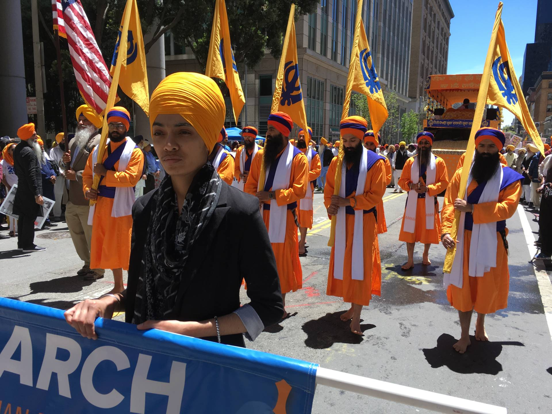 Thousands of Sikhs and their supporters paraded through San Francisco's streets on June 10, 2018, for the 5th Annual Remembrance March and Freedom Rally. Shia Levitt/KQED