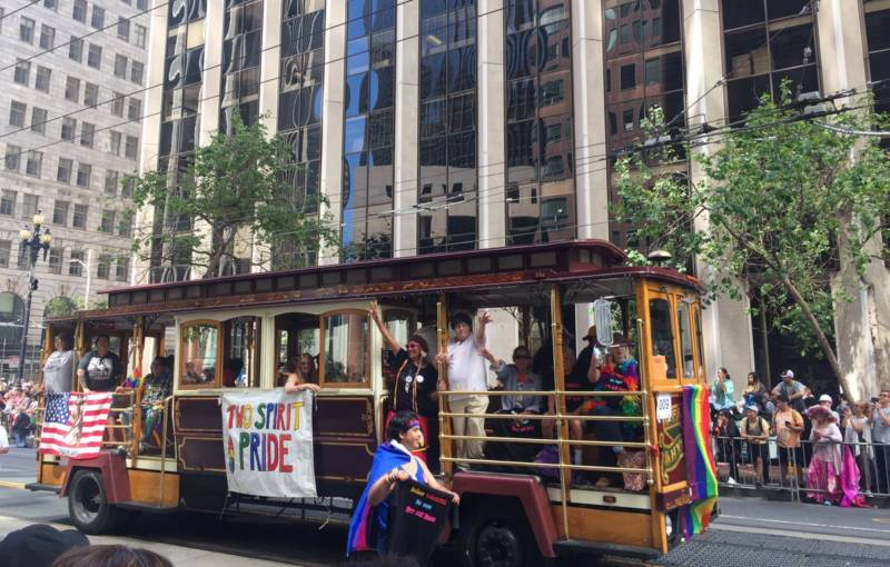 The Bay Area American Indian Two Spirits float at the San Francisco Pride parade.
