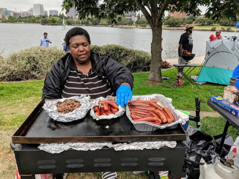 Sharon Myatt is 56 years old and moved to San Ramon from Oakland six years ago. She says she grew up skating around the lake. After leaving Oakland she says the incident in April has helped reunite black people at the lake. 'I'm from San Ramon, and you can see I came back ... This is where I was born.'