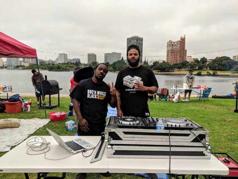 (L-R) Organizer Jhamel Morrison and DJ Gas Ken. Morrison: 'We didn't want to just make it about an issue, but you can just come and hang out and now people look forward to something. It's an opportunity for us to mingle.' He says people from all over the Bay Area came to the event on Sunday.