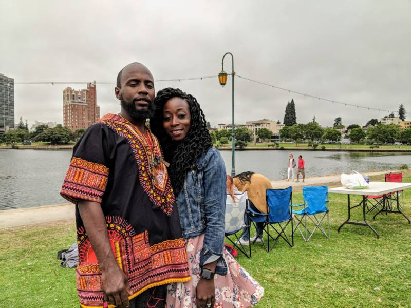 (L-R) Aljernon Olden and Martha Olden are both from Oakland and celebrated getting married last week. They came to the event for the 'good energy, good positive vibes and a lot of black people.'