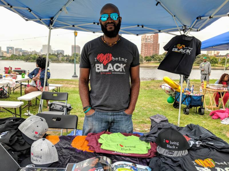 Kumi Rauf is selling t-shirts with his business 'I Love Being Black' that he started in the '90s. 'We can't complain about not enough positivity out there if we are not creating it ourselves.'