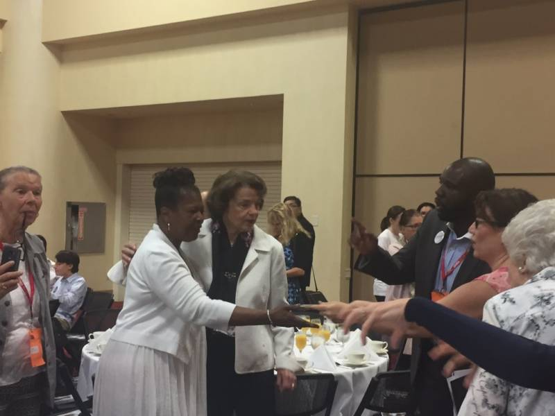 U.S. Sen. Dianne Feinstein held a party unity breakfast at the California Democrat Executive Board Meeting.
