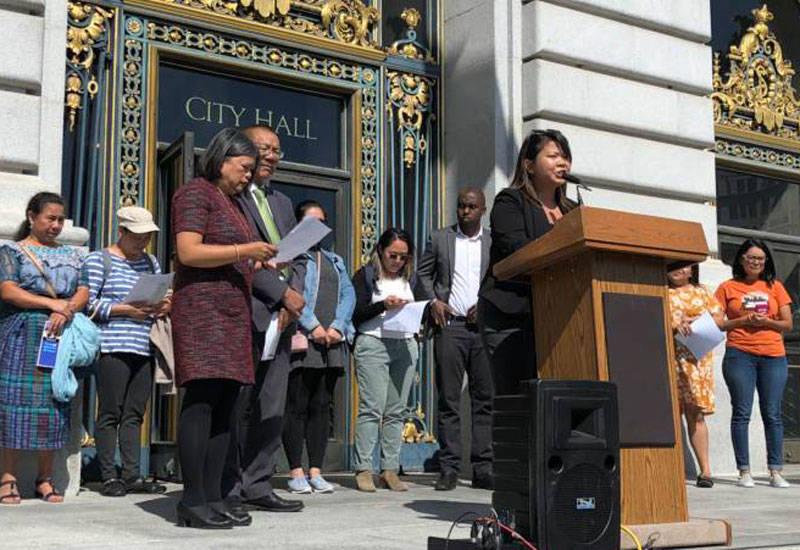 Supervisor Sandra Fewer speaks outside San Francisco City Hall.