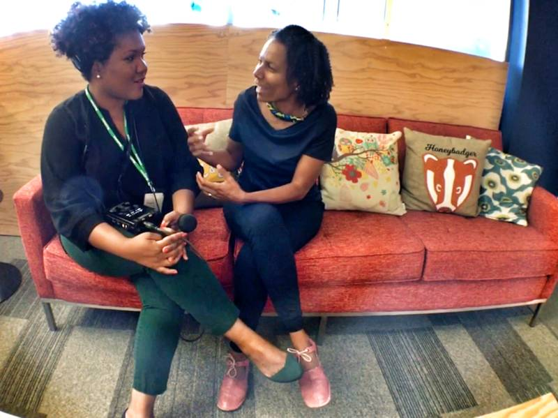 Tonya Mosley of KQED, left, chats with Maxine Williams, head of global diversity at Facebook. The company's 2018 Diversity Report shows gains for women, but the workforce is still very white.