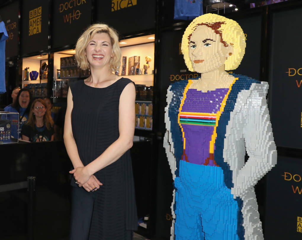 Jodie Whittaker poses with lego figure at BBC America's 'Doctor Who' at Comic-Con International 2018 at San Diego Convention Center.