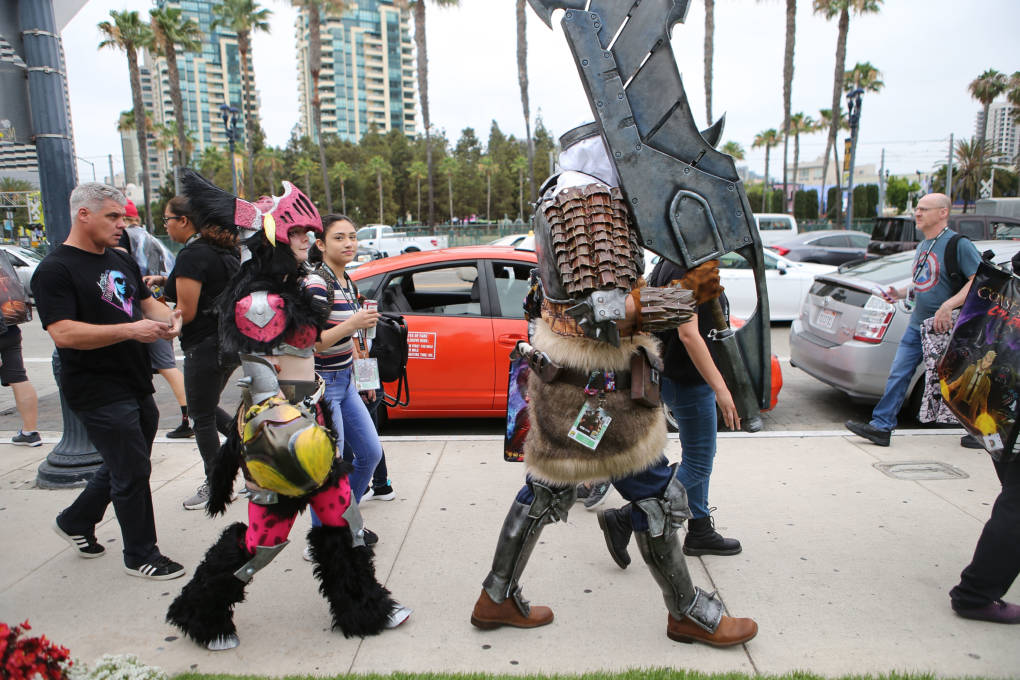 The sidewalks around the San Diego Convention Center were crowded with attendees, some in costume and some not.