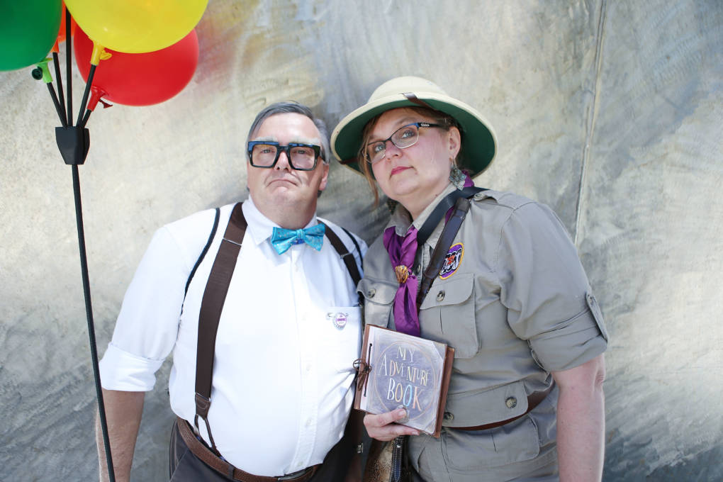 Cosplayers dressed as Ellie and Carl from the film 'Up' outside San Diego Comic-Con.
