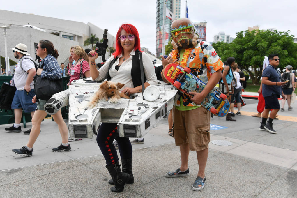 Cosplayers pose at San Diego Comic-Con International 2018 on July 20, 2018 in San Diego.