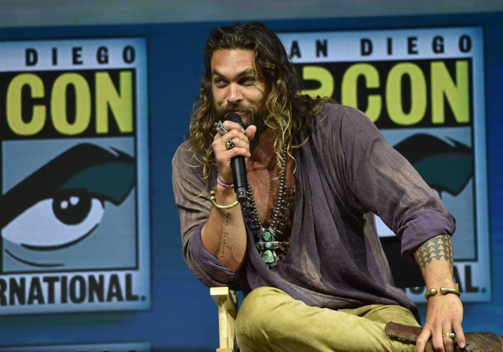 Jason Momoa participates in the Warner Bros. Theatrical Panel for 'Aquaman' during Comic Con in San Diego.